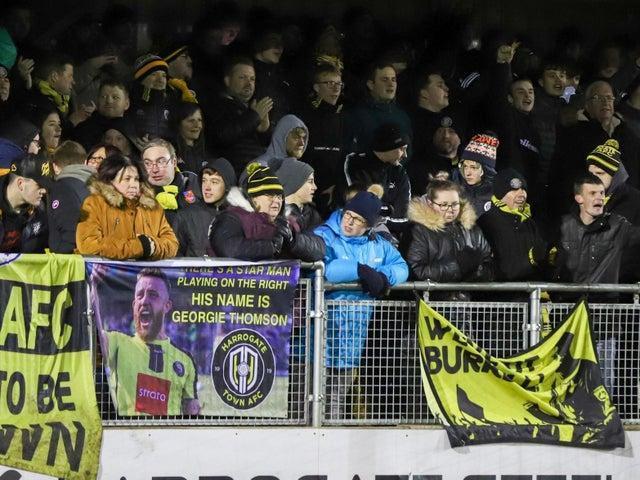 Harrogate Town supporters at last year's Yeovil Town fixture in February. Photo: Matt Kirkham.