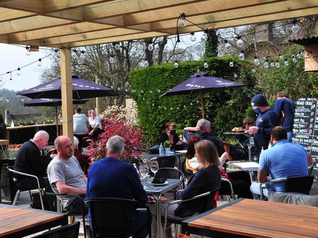 Food and drink outdoors as part of Boris Johnson's roadmap - The impressive beer garden at The Bear at Carriages in Knaresborough. (Picture Gerard Binks)