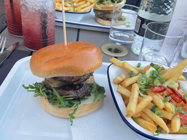 The 'Chalet Girl' burger at Solita Foodhall in Harrogate.