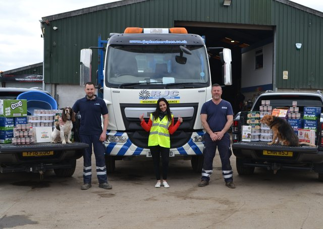 John Harrison, Zena Jackson and Chris Jackson of Tadcaster-based grab hire company RJC Plant Services, which has donated 1,000 meals to local dog charities, including Miss Mollies Pet Rescue in Harrogate.