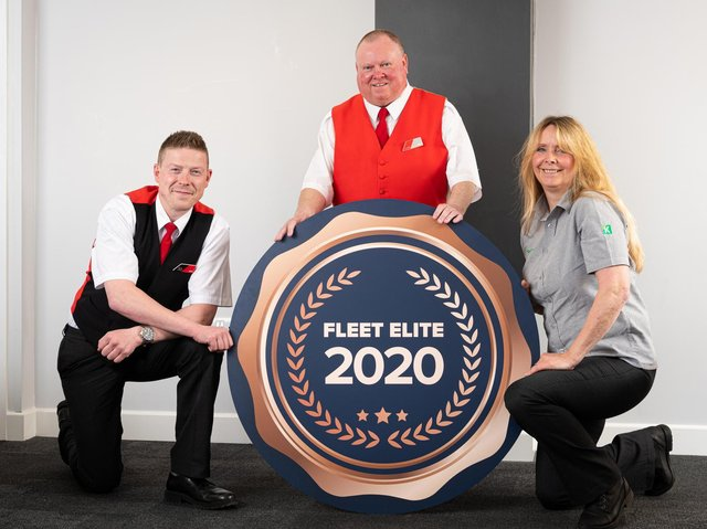 Three proud Transdev winners of 'Fleet Elite' status for smooth and safe bus driving - Harrogate's The 36 driver Miles Body, Dave Precious from the Cityzap York to Leeds express, and Jenny Riley from The Keighley Bus Company.