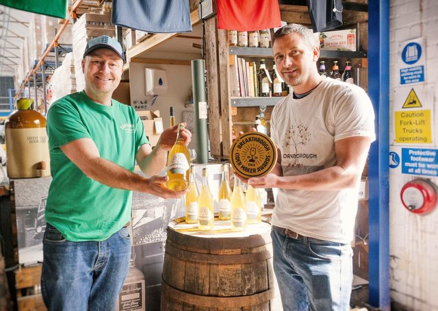 Kingsley Ash (right) of Thornborough Cider near West Tanfield received the very first Breakthrough Cider Maker Award from Barny Butterfield, chief cidermaker at Devon-based Sandford Orchards.