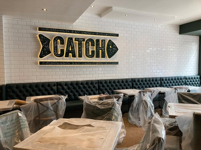 The new Catch sign is up at the former Graveley's of Harrogate, along with new tables and chairs.