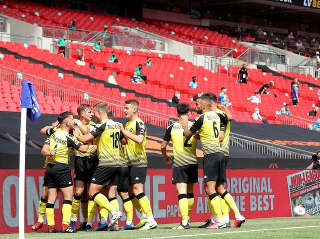 Harrogate Town will play another Wembley final in front of empty stands when they meet Concord Rangers on Bank Holiday Monday. Picture: Getty Images