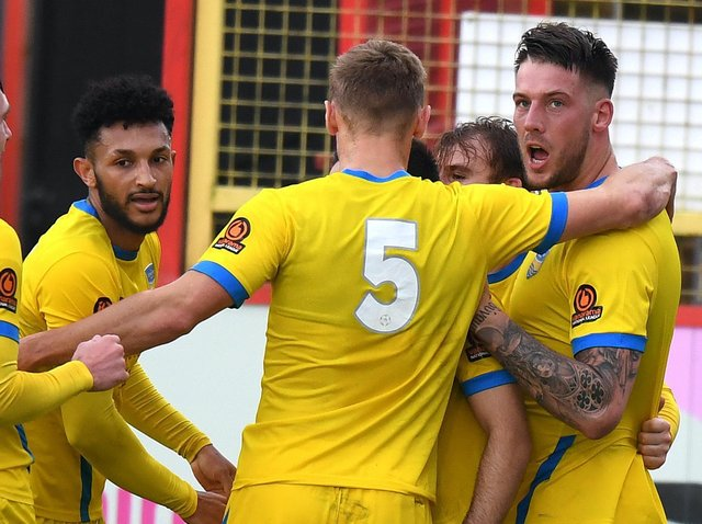Concord Rangers players celebrate scoring against League Two Stevenage during November's FA Cup draw. Pictures: Getty Images