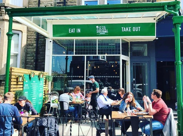 Independent pizzeria Pizza Social in Harrogate town centre has outdoors seating.