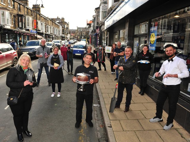 Some of the shop owners on Commercial Street in Harrogate.