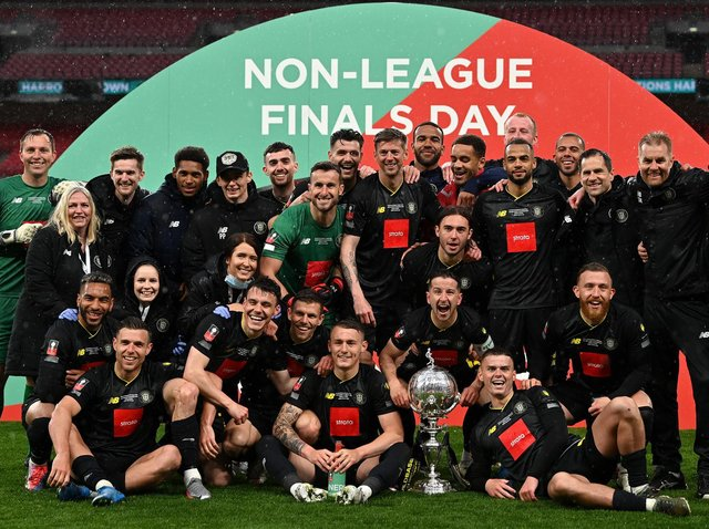Harrogate Town won the 2019/20 FA Trophy final on Bank Holiday Monday. Pictures: Getty Images