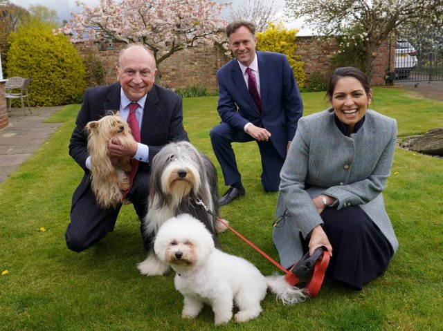 Conservative candidate Philip Allott, left, met the Home Secretary Priti Patel MP and Julian Sturdy MP at the Red House Kennels and Cattery near York.
