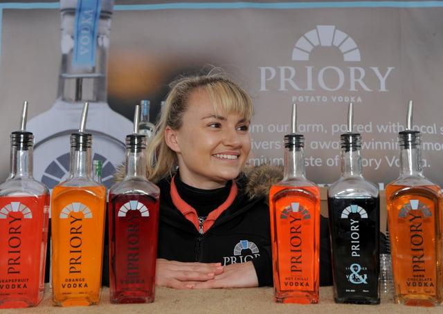 Artisan market stall holder Charlotte Wood of Priory Potato Vodka. Picture Gerard Binks