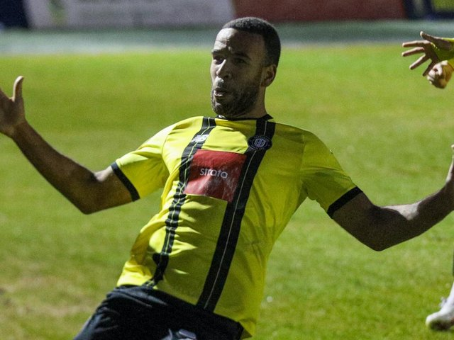 Kevin Lokko impressed for Harrogate Town during last week's victory over title-chasing Cambridge United. Pictures: Matt Kirkham