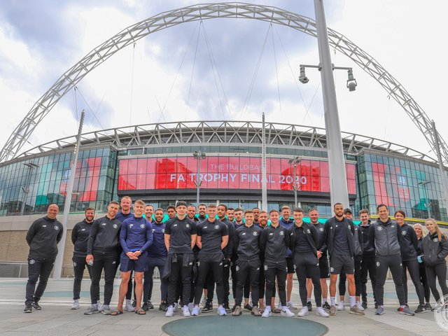 Harrogate Town players at Wembley Stadium, the scene of their FA Trophy triumph.