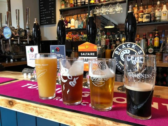 Some of the range of Yorkshire-based craft beers at the bar at the Half Moon in Knaresborough.