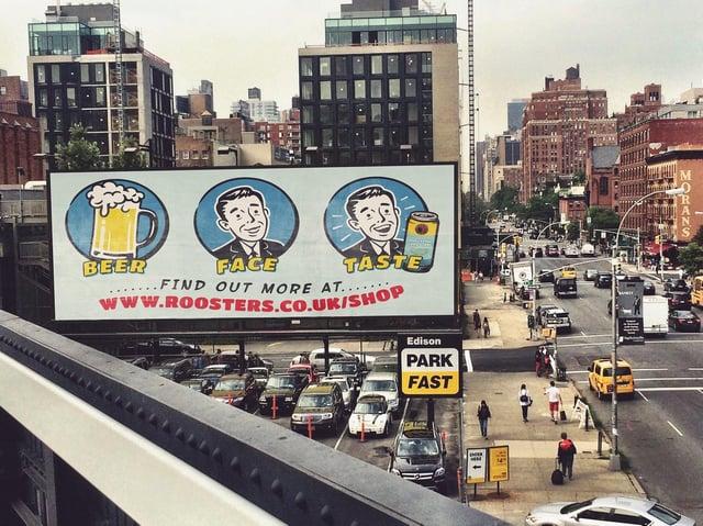 Beer fan Michael Brown's winning advertising slogan design for Harrogate's Rooster's Brewery mocked up on virtual billboards across New York City.