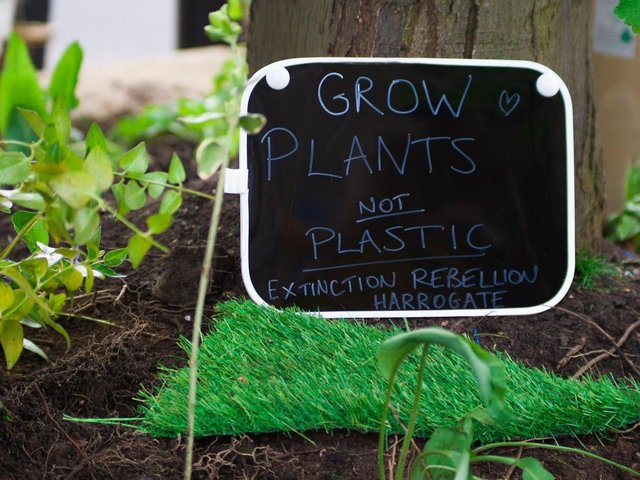 Planter controversy in Harrogate town centre -  The plastic grass suddenly disappeared to be replaced by real soil and a poem by Harrogate Extinction Rebellion.