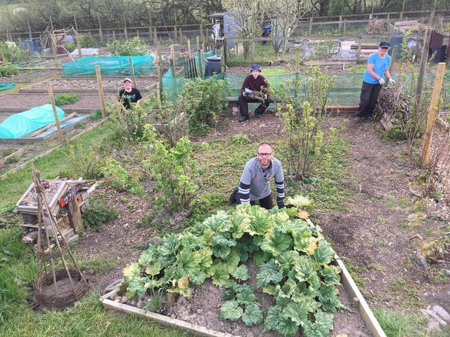 Open Country members connecting with nature on their allotment.