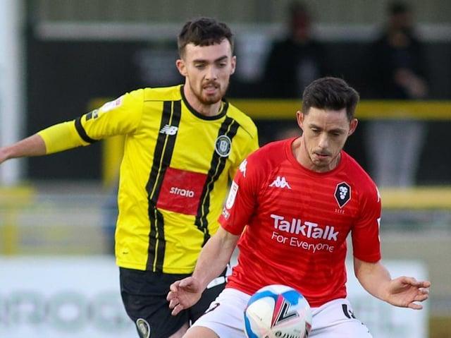 Harrogate Town midfielder Ed Francis in action against Salford City. Pictures: Matt Kirkham