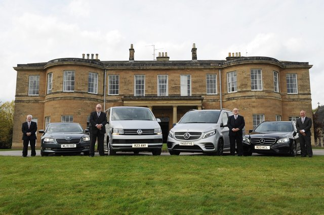 Steve Partner, managing director of Harrogate Private Hire Cars Ltd with some of his drivers at Rudding Park. PHOTO: Gerard Binks.