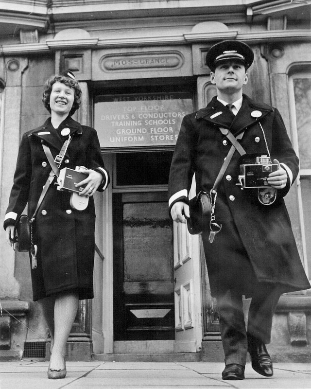 West Yorkshire Road Car Training School, Harrogate 1964.Two trainees at the end of their course issued with their uniforms and equipment.