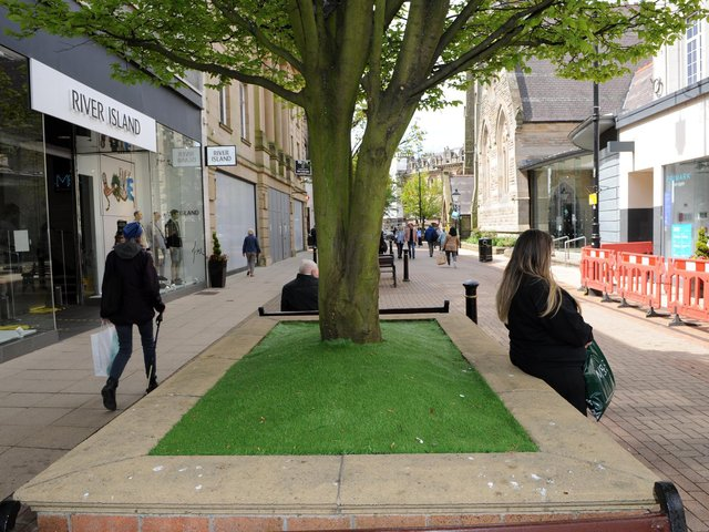 Harrogate Borough Council is set to remove the artificial grass from plant pots in the town centre. Picture: Gerard Binks.