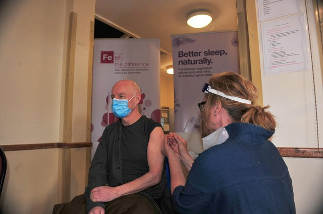 10th April 2021Pateley Bridge Covid-19 Vaccination Centre.Pictured Paul Keen from Harrogate gets his jab on the opening day for the Vacination centre at Pateley Bridge at the Memorial Hall.Picture Gerard Binks
