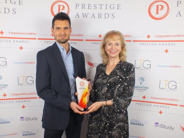 Harrogate's award-winning Yorkshire Centre for Wellbeing founder Anne-Marie Burford with her son James.
