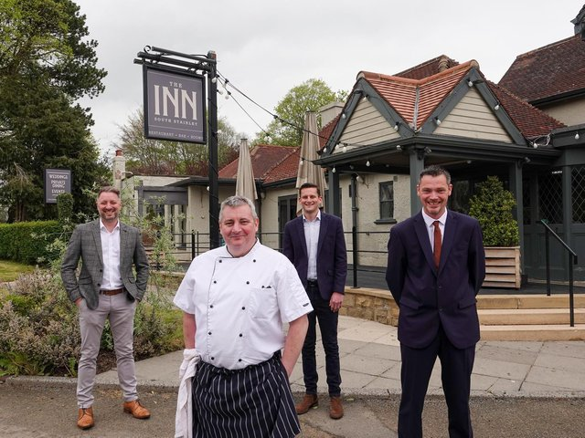 Pictured outside The Inn South Stainley are co-owner Graham Usher, head chef Shane White, co-owner Matt Rose, and general manager Chris Lawton.