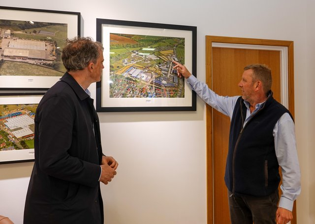 Canalside Developments director Jonathan Lupton (right) points out the location of Phase 2 of Ripon Business Park to Skipton and Ripon MP Julian Smith.