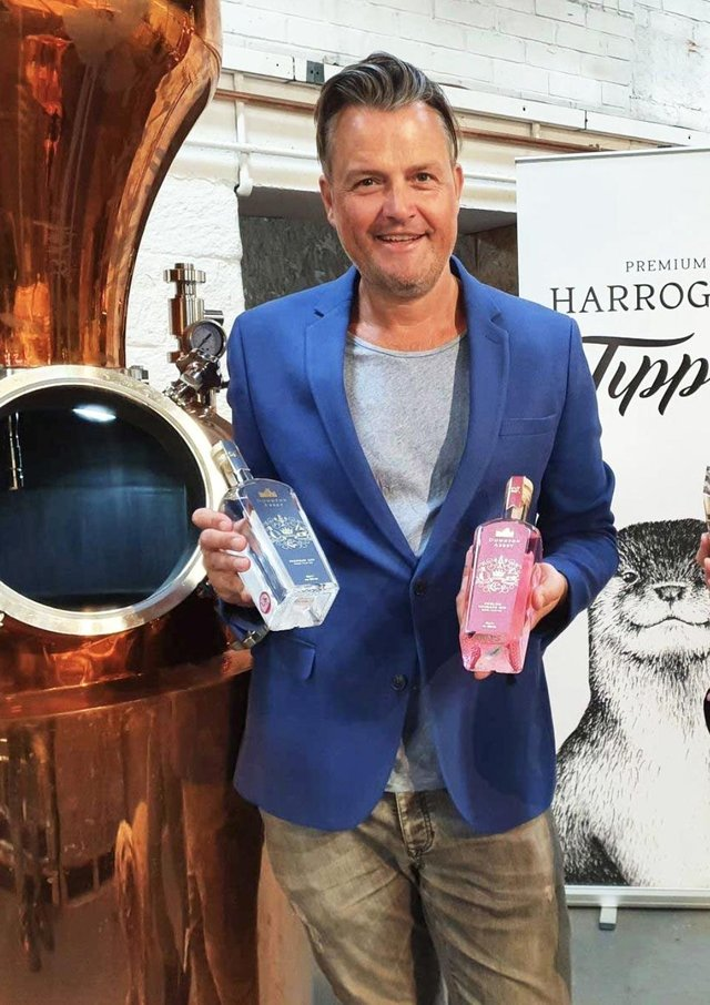 Steven Green, managing director of distillery Harrogate Tipple, with the Downton Abbey branded spirits the company is exporting to China.