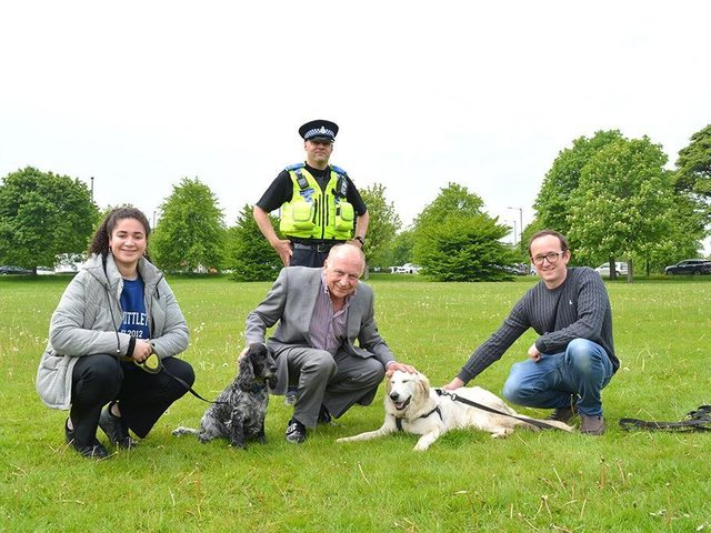 Concern over pets theft - North Yorkshire's Police, Fire and Crime Commissioner  Philip Allott, pictured centre,  meeting dog owners on The Stray in Harrogate to discuss their worries.