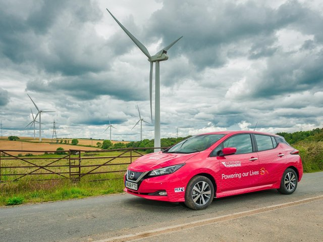 A Northern Powergrid branded electric vehicle supplied by Nissan. The DFES data indicates that there could be 123,000 electric vehicles on Harrogate's roads by 2050
