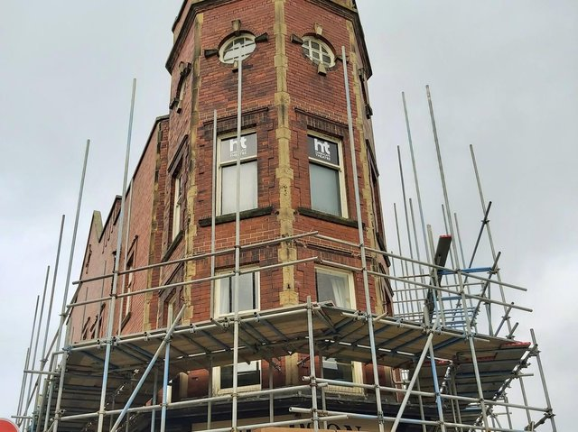 A huge temporary structure is being erected over Harrogate Theatre ready for the roof to be stripped back next month.