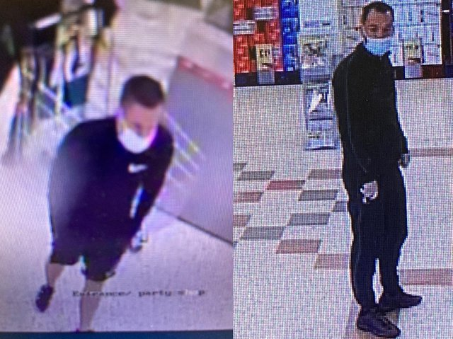 Police would like to speak to these two men in connection with the theft of £800 worth of champagne and spirits.