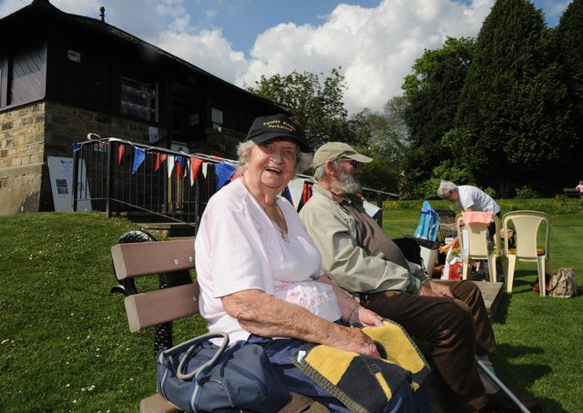 Pateley Bridge Bowling Club and the oldest member  94-year-old Gladys Blakeson. Picture Gerard Binks