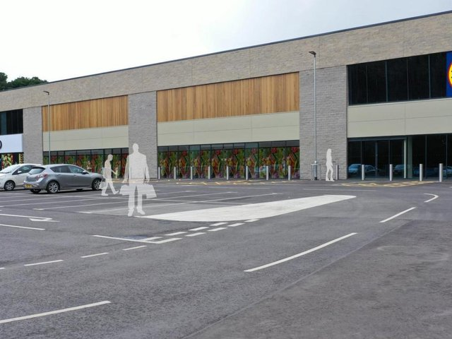 A CGI of the Lidl at St Michael's retail park in Ripon.