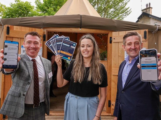 Pictured from left are Harrogate BID manager Matthew Chapman, LoyalFree partnerships manager Jena Dickson, and Cedar Court Hotels managing director Wayne Topley.