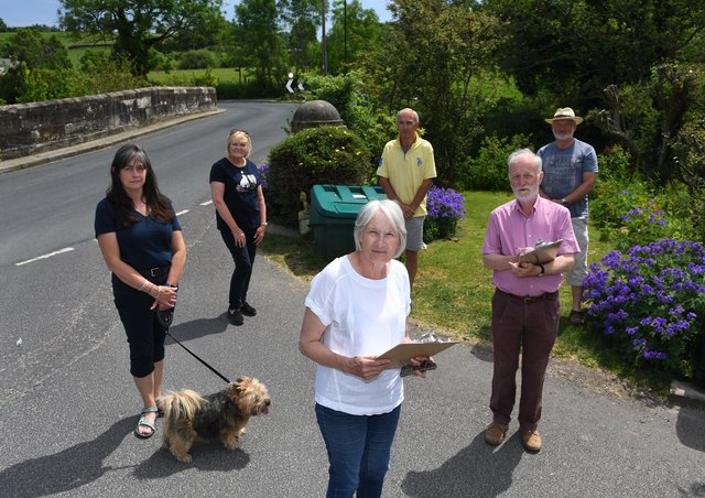 Volunteer traffic counters in Shaw Mills from left Carolyn Sandford, Yvonne Berryman, Jean Tither, Vince Graham, Nick Tither and David Terzza. Picture Gerard Binks