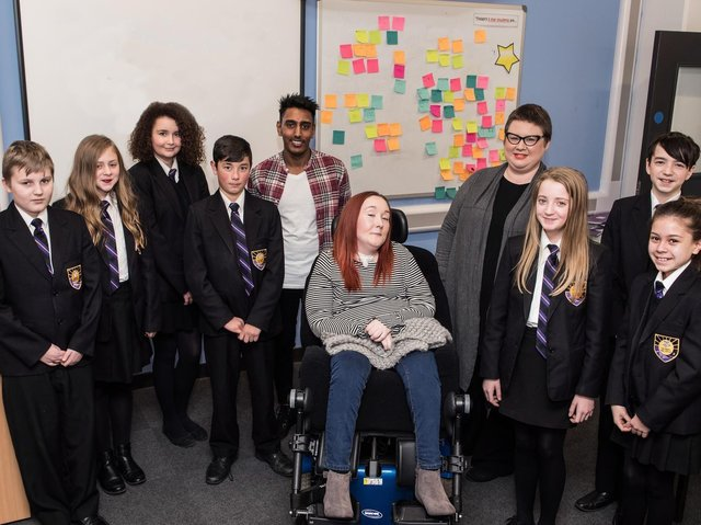 Flashback to 2018 - Inspirational Lauren Doherty (with Jubel Ahmed and Clare Flynn) takes her Road Safety Talk to pupils at Harrogate High School.