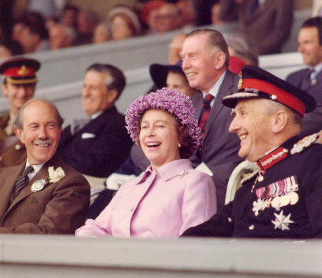 Her Majesty The Queen at the 1977 Great Yorkshire Show with (on left) President of the Yorkshire Agricultural Society, Major General Dalton CB CBE DL and (on right) the Lord Lieutenant of North Yorkshire the Marquis of Normanby CBE. (s)