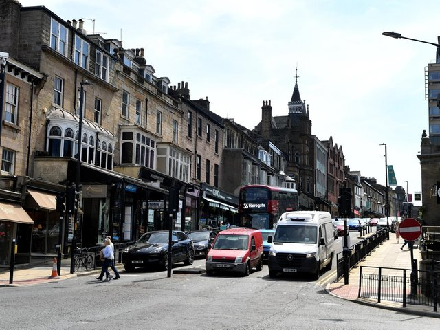 Car traffic on Parliament Street in Harrogate as it is now with a one-way system.