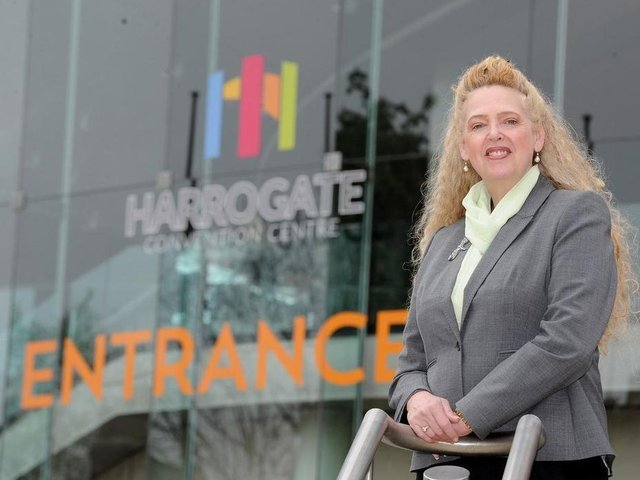 Paula Lorimer pictured outside Harrogate Convention Centre.