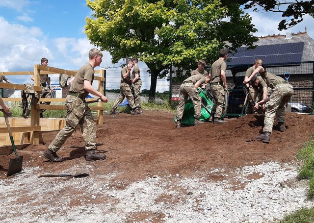 Soldiers from 14 Platoon P-Coy of the Army Foundation College helped to create raised beds, using topsoil donated by Arkendale landscape supplies firm Green-tech, for a community allotment at New Park Primary Academy in Harrogate.
