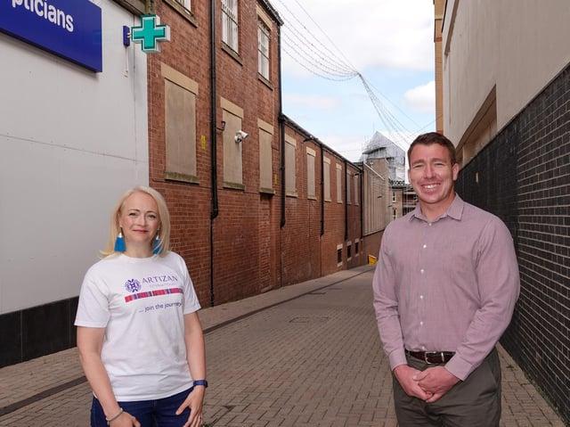 Brightening the town centre - Artizan International Founder Susie Hart MBE, and Harrogate BID Manager, Matthew Chapman on Cambridge Place.
