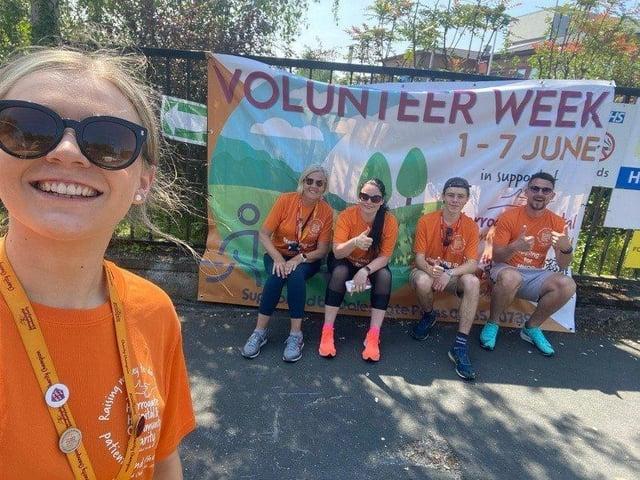 The Volunteer Team and volunteers taking on their Stepathon Challenge