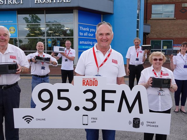 Mark Oldfield and the Harrogate Hospital Radio team celebrate winning the FM licence after a successful petition to Ofcom.