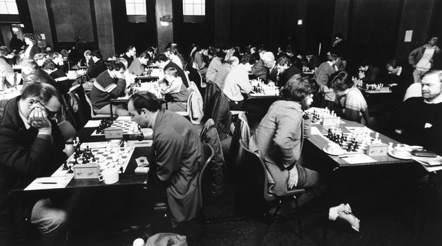 Harrogate, 24th March 1989The scene at the Yorkshire Chess Championships at The Royal baths, Harrogate.