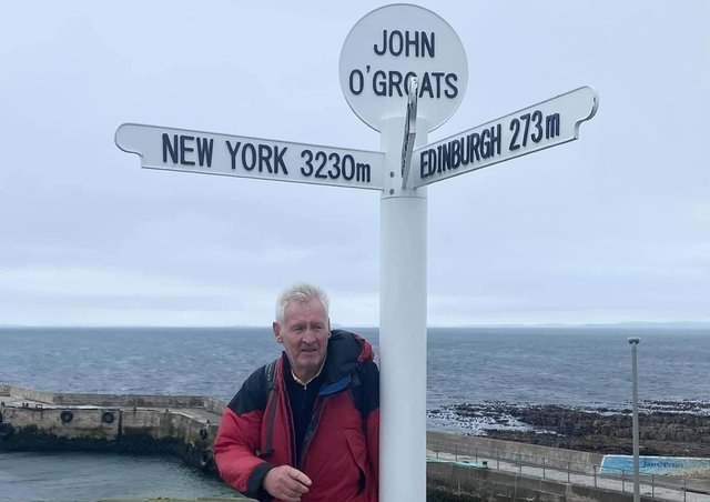 Tony Hennigan, 70, who has completed the Lands End to John O'Groats challenge for Sue Ryder Manorlands Hospice.