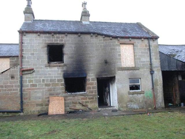 A previous arson attack at Cow Dyke Farm in Harrogate.