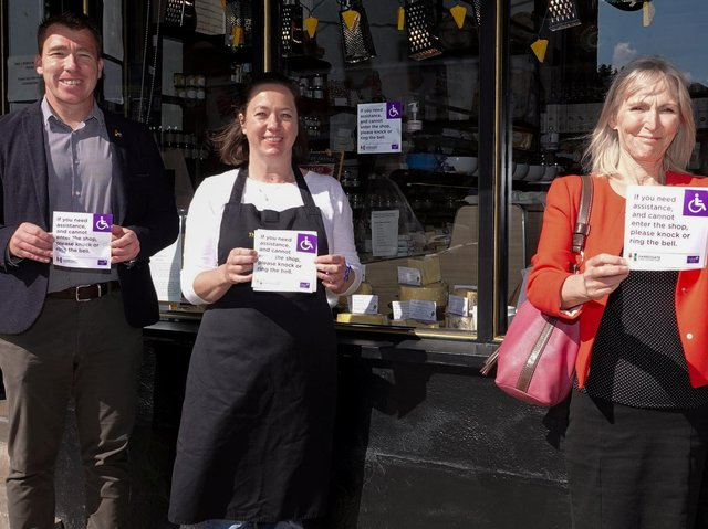 Supporting Disability Action Yorkshire - Harrogate BID Manager, Matthew Chapman; The Cheeseboard owner, Gemma Aykroyd; and Disability Action Yorkshire Chief Executive, Jackie Snape.