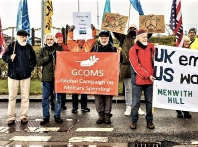A Menwith Hill protest earlier this year outside the intelligence base to mark the International Day Against Foreign Military Bases. (Picture by Neil Terry Photography)